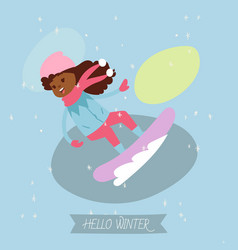 happy laughing african girl sledding down on snow vector image