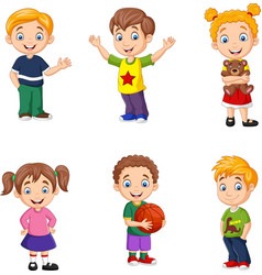 Happy little kids collection set vector
