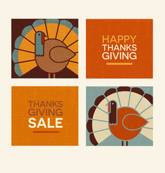 Happy thanksgiving modern turkeys and text set vector