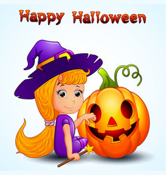 happy witch and pumpkin cartoon vector image
