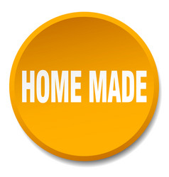 Home made orange round flat isolated push button vector