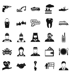 Hr icons set simple style vector