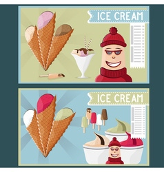 Ice cream cafe cartoon vector