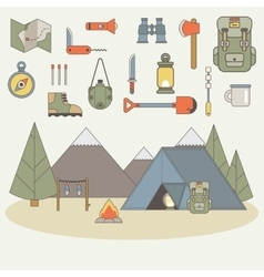 Icons for adventure in the style of flat vector image