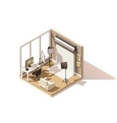 Isometric low poly Photo studio room icon vector