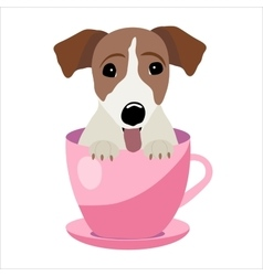 Jack Russell Terrier in pink teacup vector