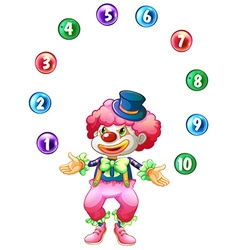 Jester juggling balls with numbers vector