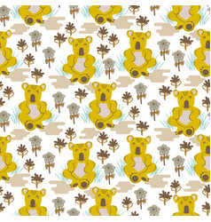Koala bear cute kids seamless pattern vector