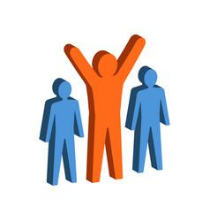 Leadership teamwork concept symbol flat isometric vector