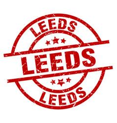 Leeds red round grunge stamp vector