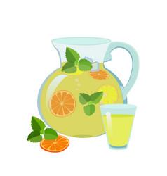 lemonade jug and glass vector image