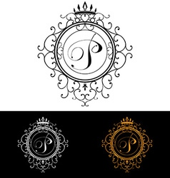 Letter P Luxury Logo template flourishes vector image