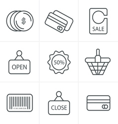 Line Icons Style Shopping Icon Set vector image