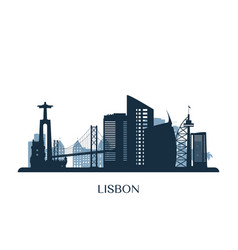 lisbon skyline monochrome silhouette vector image