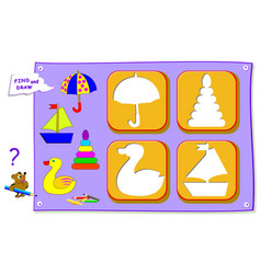 Logical puzzle game for baby coloring book find vector