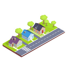 Model of a cottage town with crosswalk main road vector