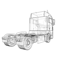 Modern cargo truck isolated on grey background vector