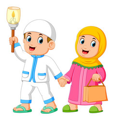 moslem couples walking and holding torch vector image