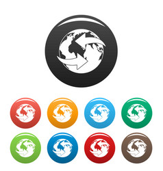 moving earth icons set color vector image
