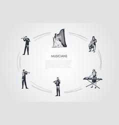 musicians - violinist harpist cellist xylophone vector image