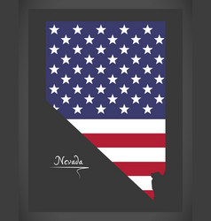 Nevada map with american national flag vector