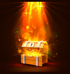 open chest with gold bright background vector image
