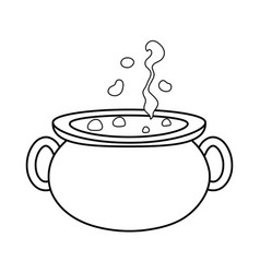 Outline pot cauldron object to traditional in vector