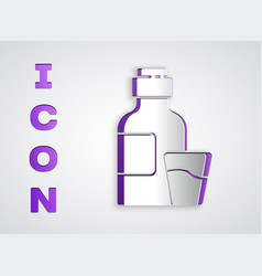 Paper cut bottle medicine syrup and dose vector