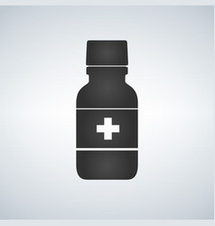 pill bottle icon with medical cross modern pill vector image