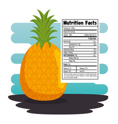 Pineapple with nutrition facts vector