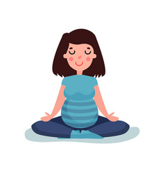 pregnant woman character meditating in lotus pose vector image