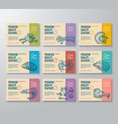 premium quality seafood labels collection vector image