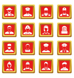 Professions icons set red vector