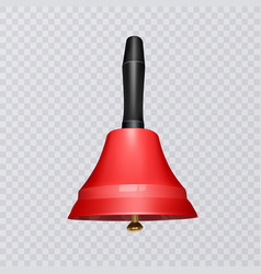 Realistic school bell red color on a transparent vector