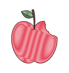 Red apple with green leaf and bite food vector