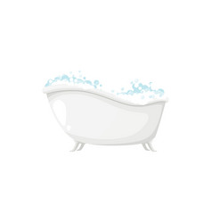 Relaxing spa bathtub with soapy bubbles isolated vector
