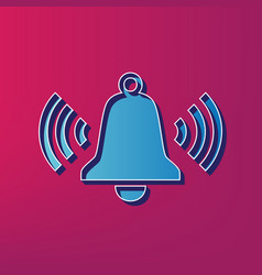 ringing bell icon blue 3d printed icon on vector image