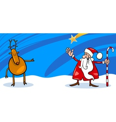 Santa and Reindeer cartoon card vector image