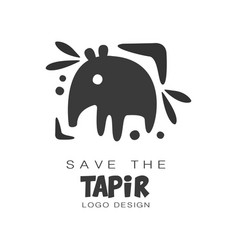 Save the tapir logo design protection of wild vector