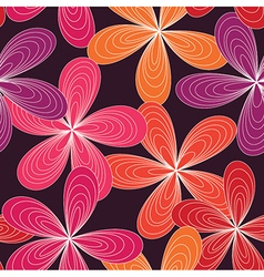 Seamless abstract 70s flowers pattern pink vector