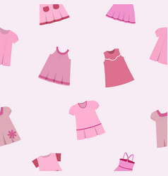 seamless pattern different pink dresses for vector image
