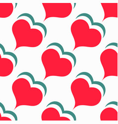 seamless pattern valentines day red heart vector image