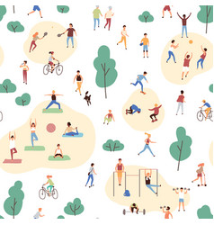 seamless pattern with crowd people performing vector image