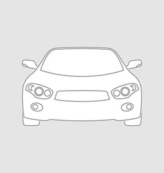 Sedan car wireframe front view White fill in vector image