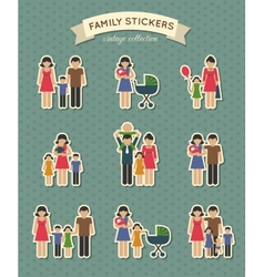 Set color family icons vector