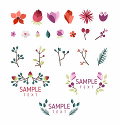 set floral design elements collection vector image