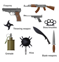 set of military weapons and shotgun in the vector image