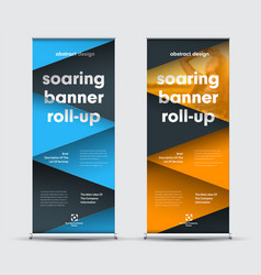 set of roll-up banners with intersecting black vector image