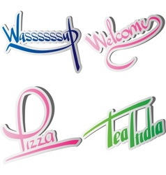 Set of various drawn and rendered Lettering label vector image