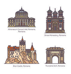 Set romania architecture landmarks in thin line vector